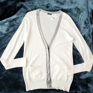 NWT J.Crew eggshell white w/ silver details vest
